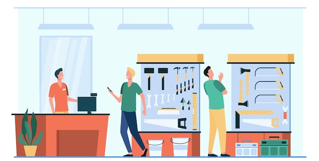 Szczęśliwi Mężczyźni Wybierając I Kupując Sprzęt Na Białym Tle Płaska Ilustracja Darmowych Wektorów