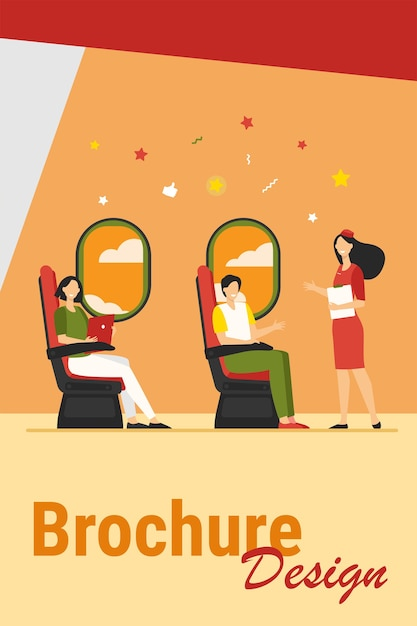 Szczęśliwi Pasażerowie Siedzący I Samolot W Pobliżu Ilustracji Wektorowych Płaski Windows. Kreskówka Stewardesa Instruująca Podróżnych W Samolocie. Koncepcja Podróży, Podróży I Turystyki Darmowych Wektorów
