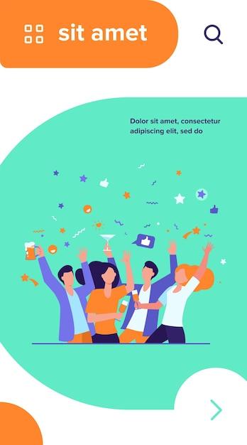 Szczęśliwi Przyjaciele Razem świętujący Wydarzenie. Grupa Ludzi Cieszących Się Imprezą, Tańcem, Piciem Alkoholu Darmowych Wektorów