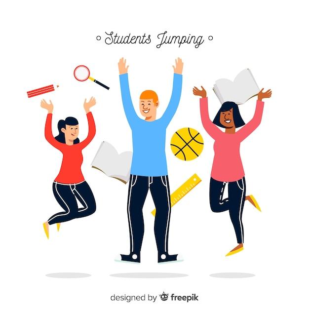 Szczęśliwi Ręka Rysujący Uczni Skakać Darmowych Wektorów