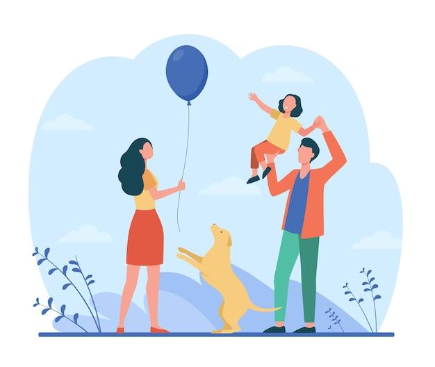 Szczęśliwi Rodzice Z Córką, Wspólna Zabawa. Ilustracja Kreskówka Darmowych Wektorów