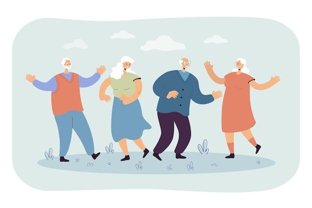 Szczęśliwi Starsi Ludzie Korzystający Z Imprezy Na świeżym Powietrzu. Ilustracja Kreskówka Darmowych Wektorów