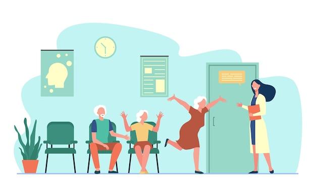 Szczęśliwi Starsi Ludzie Powitanie Lekarza. Lekarz, Babcia, Ilustracja Płaski Szpital Darmowych Wektorów