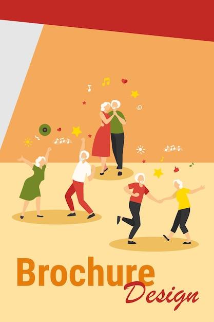 Szczęśliwi Starzy Ludzie Tańczą Na Białym Tle Płaskie Wektor Ilustracja. Kreskówka Starszych Dziadków I Babcie, Zabawy Na Imprezie. Koncepcja Klubu Muzyki I Tańca Darmowych Wektorów