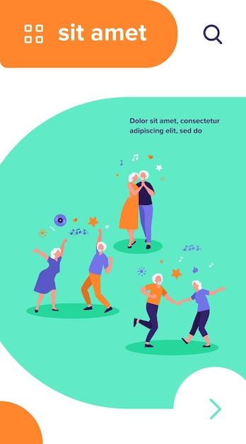 Szczęśliwi Starzy Ludzie Tańczą Na Białym Tle Płaskie Wektor Ilustracja. Kreskówka Starszych Dziadków I Babcie, Zabawy Na Imprezie Darmowych Wektorów