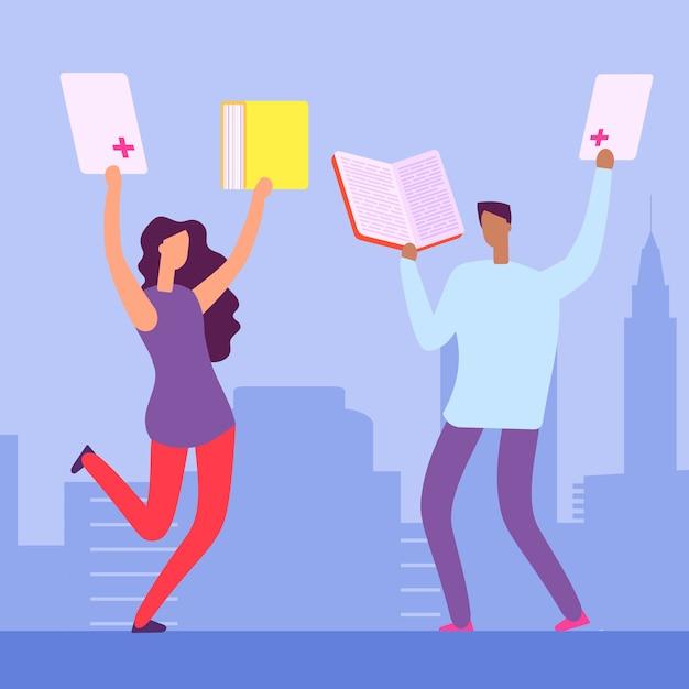 Szczęśliwi Studenci Z Książkami I Doskonałymi Ocenami Premium Wektorów