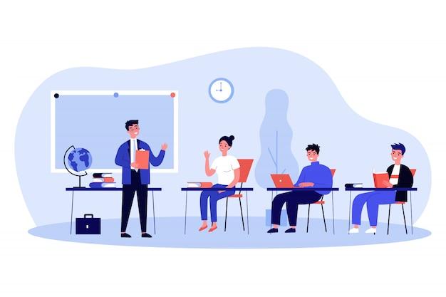 Szczęśliwi Szkolni Ucznie Siedzi Przy Biurkiem W Sala Lekcyjnej Premium Wektorów