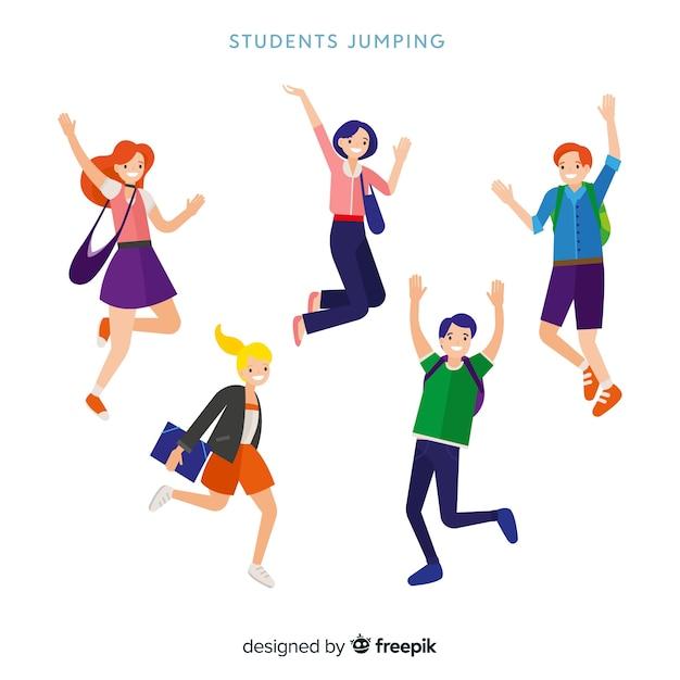 Szczęśliwi Ucznie Skacze Z Płaskim Projektem Darmowych Wektorów