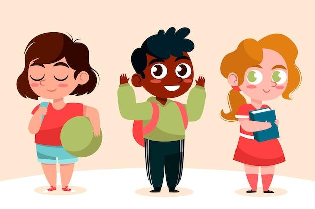 Szczęśliwi Uczniowie Wracają Do Szkoły Jesienią Darmowych Wektorów