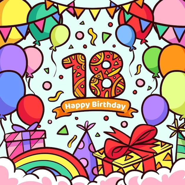 Szczęśliwy 18 Urodziny Koncepcja Tło Darmowych Wektorów