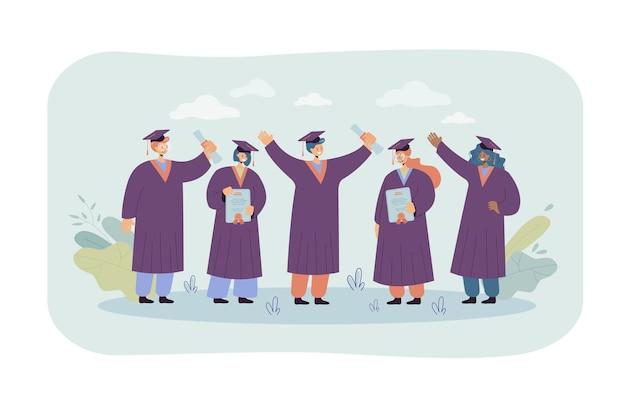 Szczęśliwy Absolwent Student Stojący I Posiadający Dyplomy Izolowane Płaskie Ilustracja. Ilustracja Kreskówka Darmowych Wektorów