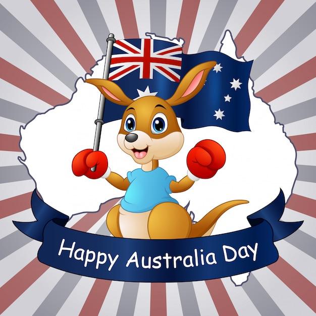 Szczęśliwy Australia Dnia Kangur Trzyma Flaga Na Mapy Tle Premium Wektorów