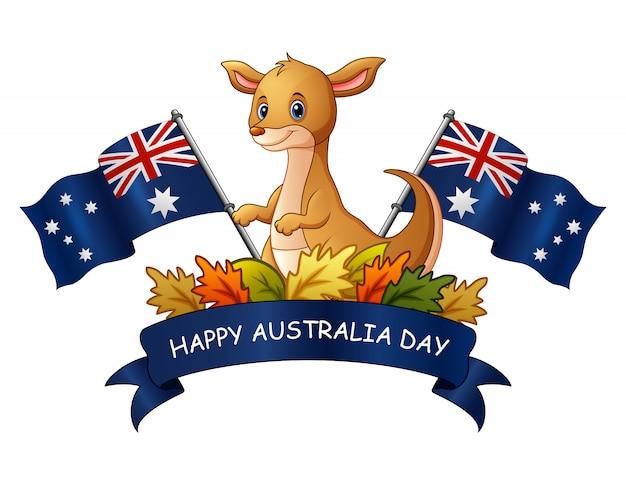 Szczęśliwy Australia Dzień Z Kangurem Na Białym Tle Premium Wektorów