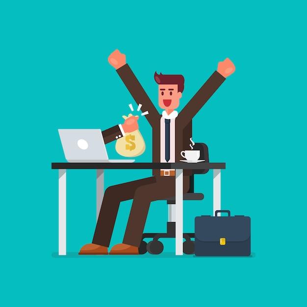 Szczęśliwy biznesmen dostaje torbę pieniądze od jego laptopu Premium Wektorów