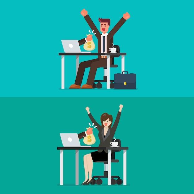 Szczęśliwy biznesmen i kobieta dostaje torbę pieniądze od jego laptopu Premium Wektorów