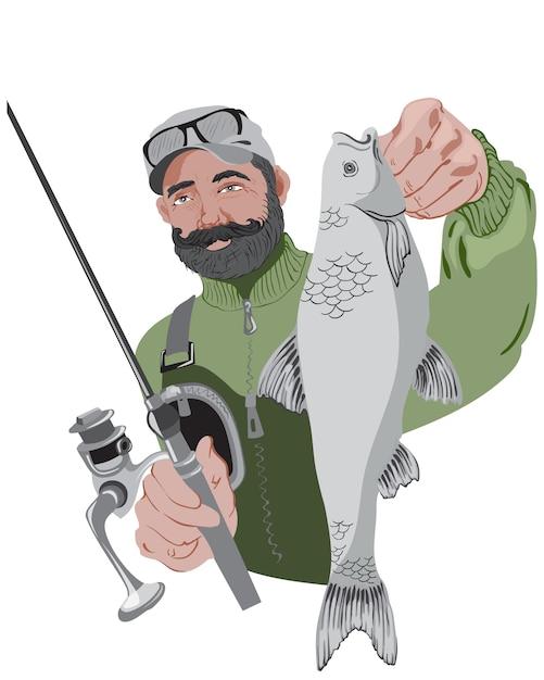 Szczęśliwy Brodaty Rybak Trzyma Jego Wędkę I Ryba. Na Sobie Zielony Sweter Premium Wektorów