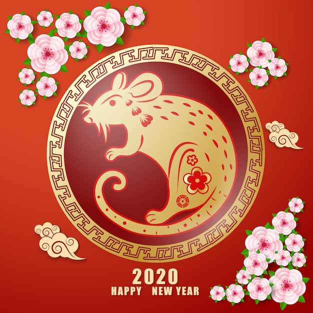 Szczęśliwy chiński nowy rok 2020 Premium Wektorów