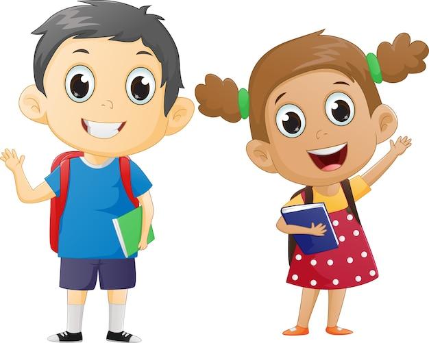Szczęśliwy Chłopiec I Dziewczynka Gotowy, Aby Wrócić Do Szkoły   Premium  Wektor