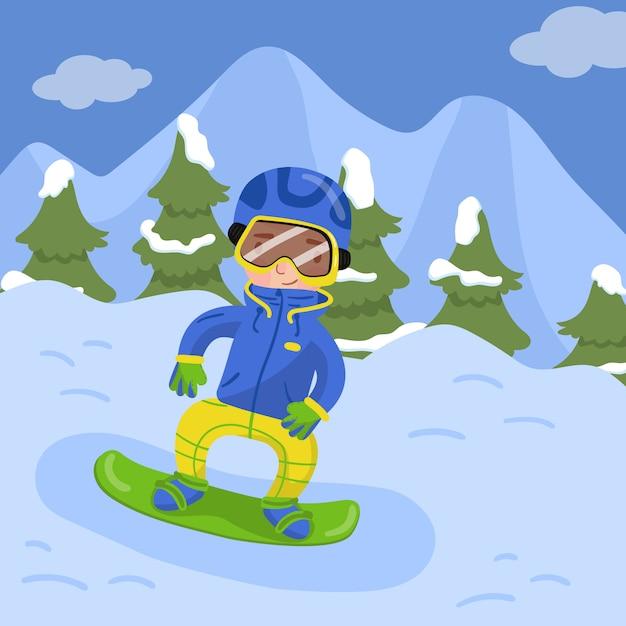 Szczęśliwy Chłopiec Jazda Na Snowboardzie W Górach W Zima Sezonu Wakacyjnego Ilustraci Premium Wektorów