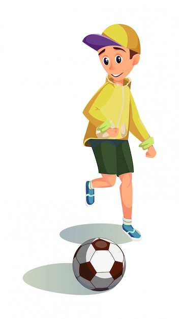 Szczęśliwy Chłopiec Kreskówka Grać W Piłkę Nożną Premium Wektorów
