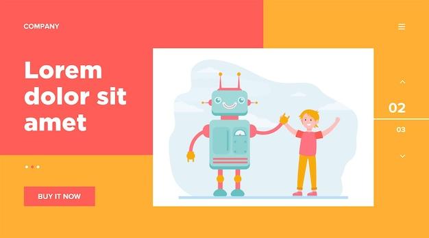 Szczęśliwy Chłopiec Podnosi Ręce Z Robotem. Inżynieria, Przyszłość, Płaska Ilustracja Wektorowa Wiedzy. Projekt Strony Internetowej Lub Strony Docelowej Technologii I Przemysłu Robotycznego Darmowych Wektorów