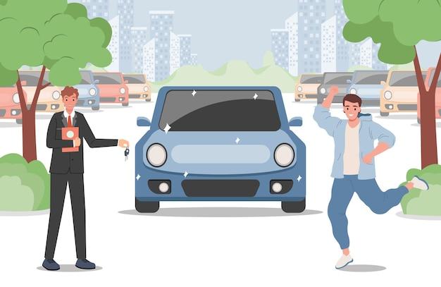 Szczęśliwy Człowiek Kupuje Ilustrację Samochodu Premium Wektorów