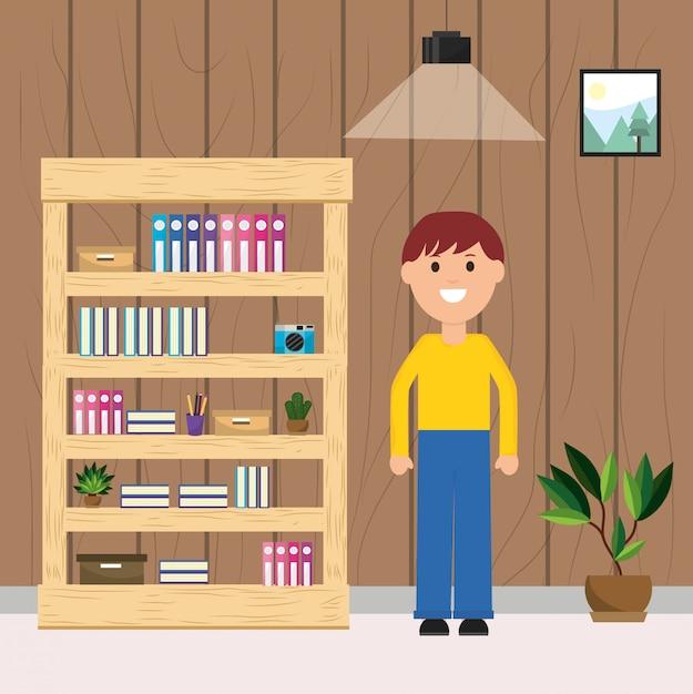 Szczęśliwy Człowiek Pokój Regał Książki Aparat Roślin I Lampa Sufitowa Ilustracja Premium Wektorów