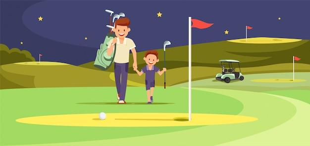 Szczęśliwy człowiek z golfistami son chodzący po idealnym golfie Premium Wektorów