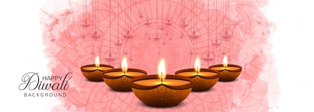 Szczęśliwy Diwali Tradycyjny Indyjski Festiwal Kolorowy Transparent Darmowych Wektorów