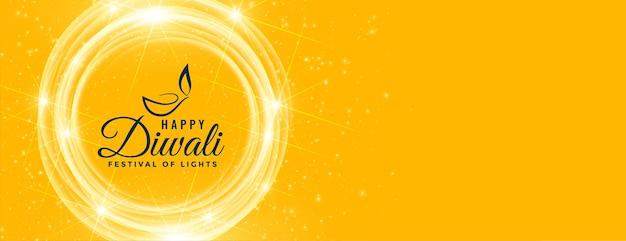 Szczęśliwy Diwali żółty Błyszczący życzenia Banner Darmowych Wektorów
