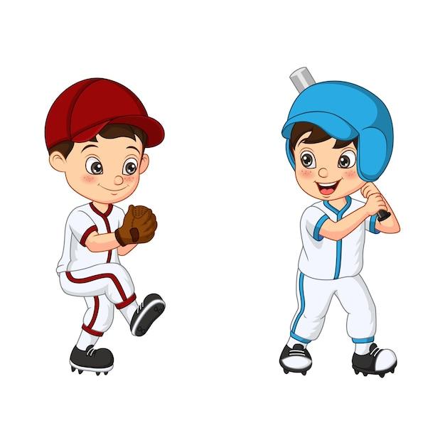 Szczęśliwy Dwoje Dzieci Grających W Baseball Premium Wektorów