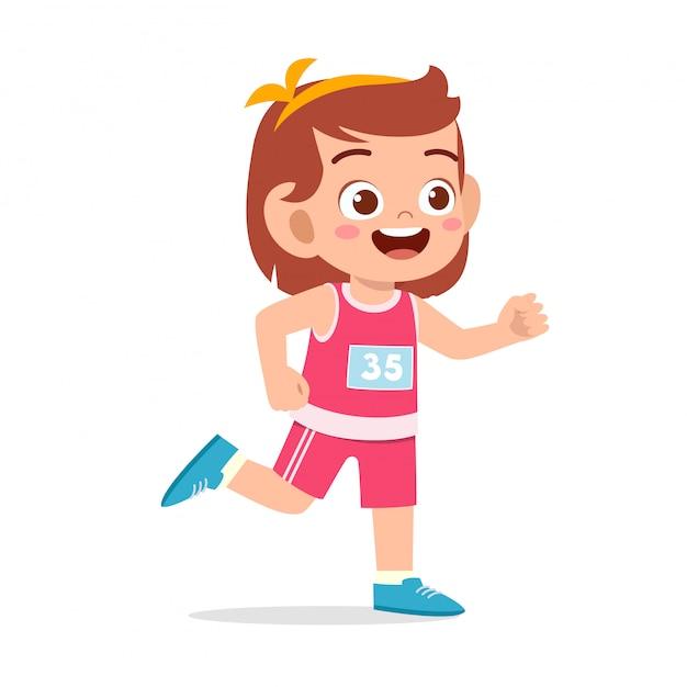 Szczęśliwy dzieciak dziewczyny pociągu bieg maraton jogging Premium Wektorów