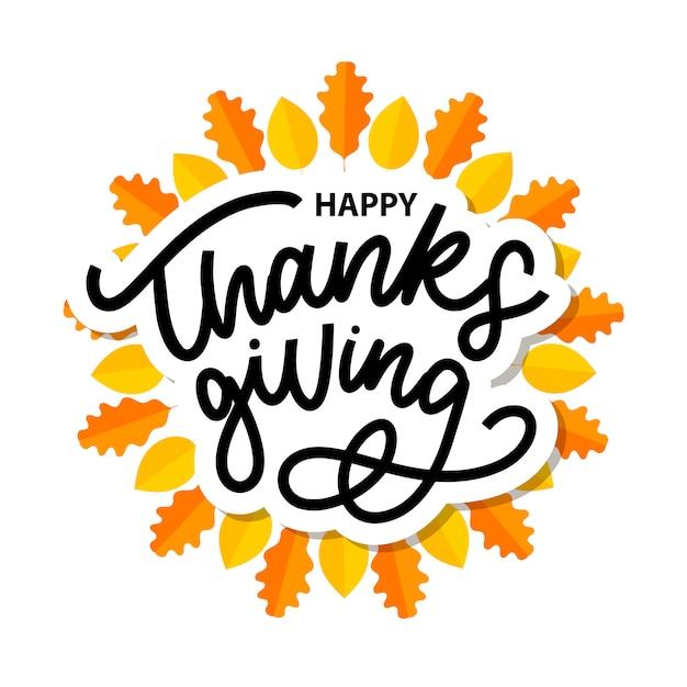 Szczęśliwy Dziękczynienie Pędzlem Strony Napis Premium Wektorów
