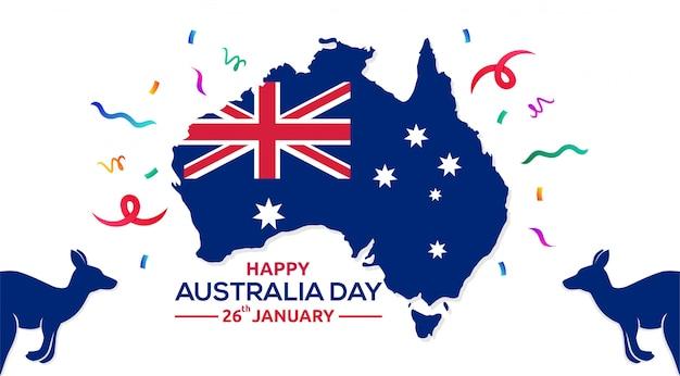 Szczęśliwy Dzień Australii 26 Stycznia Mapa Australii Ilustracji Wektorowych Premium Wektorów