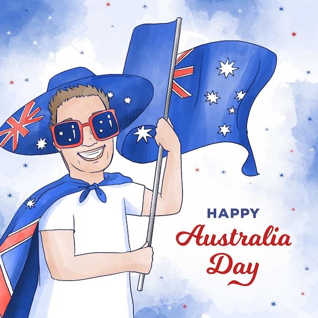 Szczęśliwy Dzień Australii Człowiek W Okularach Gospodarstwa Flagę Darmowych Wektorów