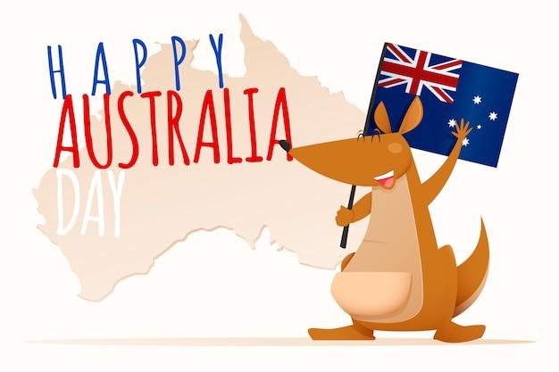 Szczęśliwy Dzień Australii Napis Z Cute Kangura Darmowych Wektorów