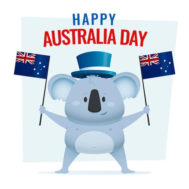 Szczęśliwy Dzień Australii Napis Z Cute Koala Darmowych Wektorów