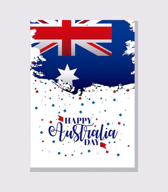 Szczęśliwy dzień australii transparent na szary, flaga i konfetti Darmowych Wektorów