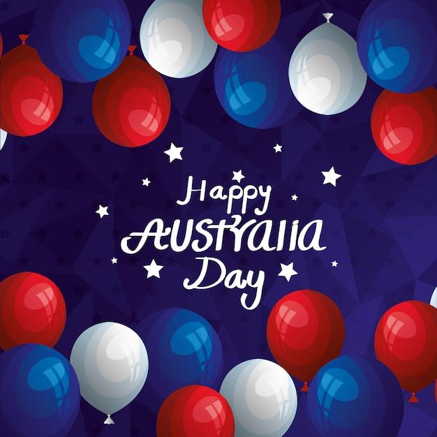 Szczęśliwy Dzień Australii Z Balonami Hel Dekoracji Premium Wektorów