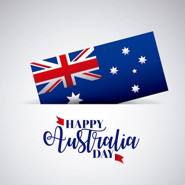 Szczęśliwy dzień australii z flagą Darmowych Wektorów