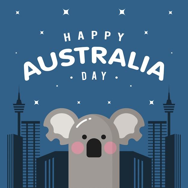 Szczęśliwy Dzień Australii Z Koalą Premium Wektorów