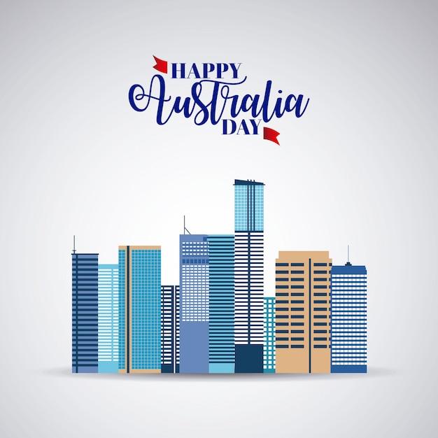 Szczęśliwy Dzień Australlia Z Panoramę Darmowych Wektorów