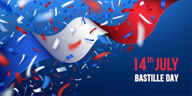 Szczęśliwy Dzień Bastylii We Francji Z Konfetti Premium Wektorów