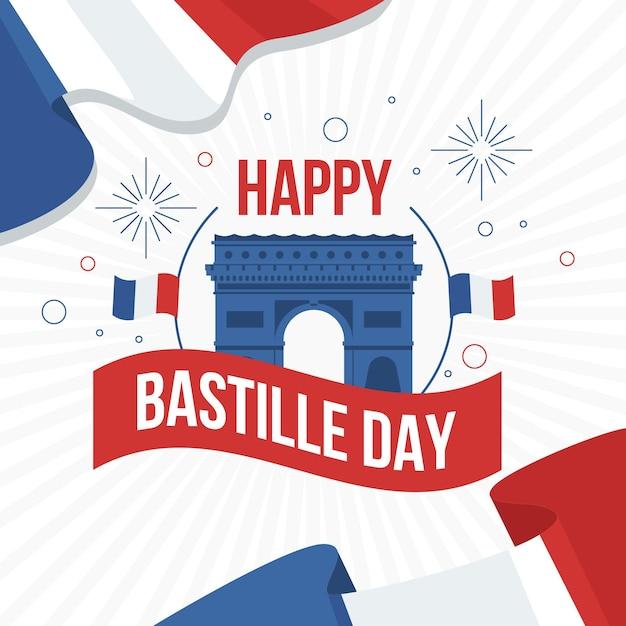 Szczęśliwy Dzień Bastylii Z Arc De Triomphe Premium Wektorów