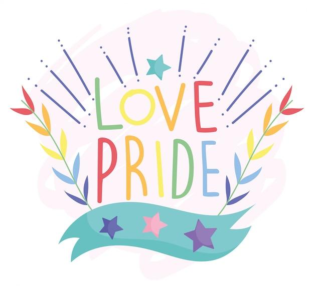 Szczęśliwy Dzień Dumy, Gwiazdy Miłości Opuszczają Dekorację Społeczności Lgbt Premium Wektorów