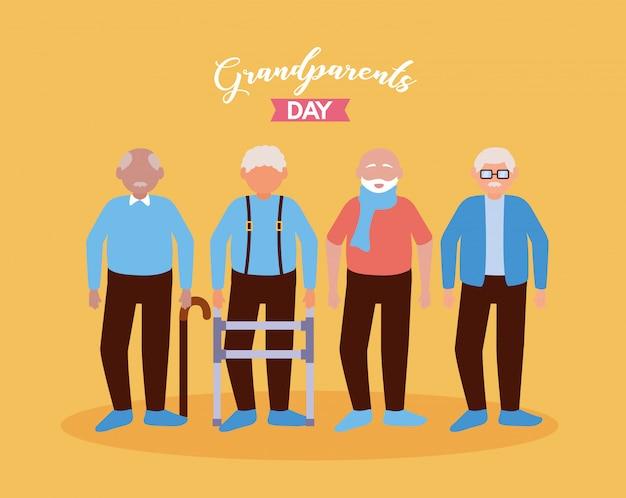 Szczęśliwy dzień dziadków płaska konstrukcja Darmowych Wektorów