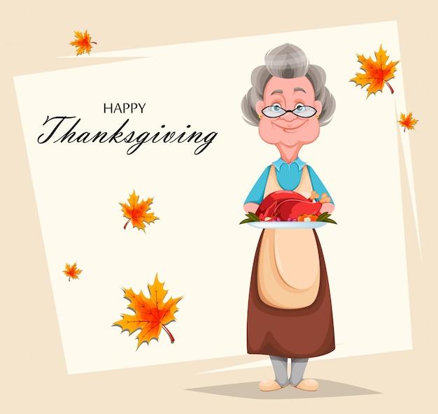 Szczęśliwy Dzień Dziadków. Wesoła Babcia Premium Wektorów