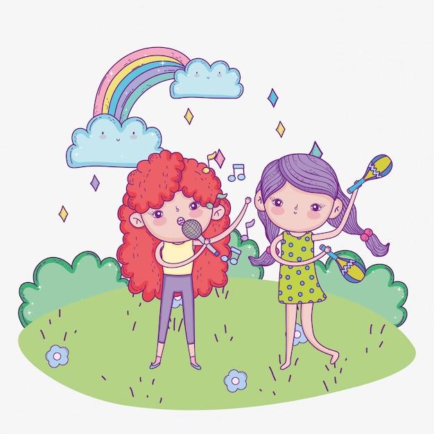 Szczęśliwy Dzień Dziecka, Dziewczyny Z Mikrofonem I Muzyką Maraca Na świeżym Powietrzu Premium Wektorów
