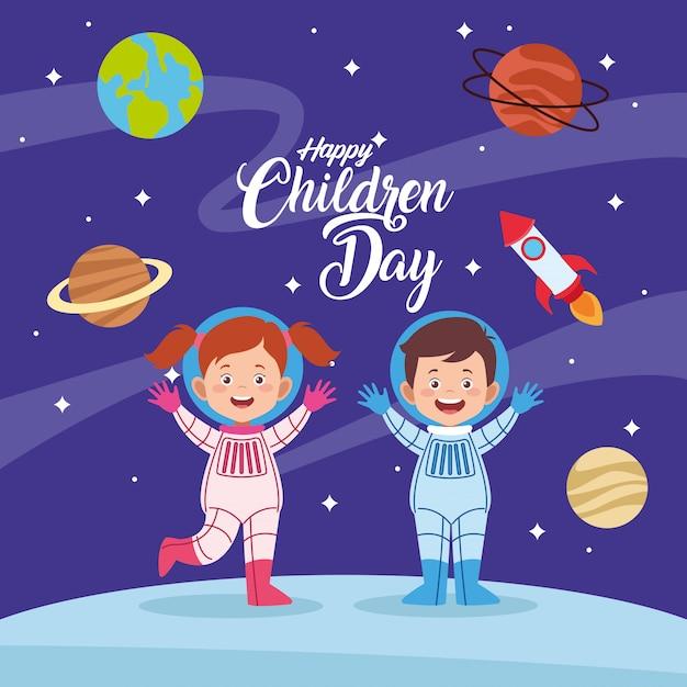 Szczęśliwy Dzień Dziecka Kartkę Z życzeniami Z Dziećmi Para W Przestrzeni Premium Wektorów