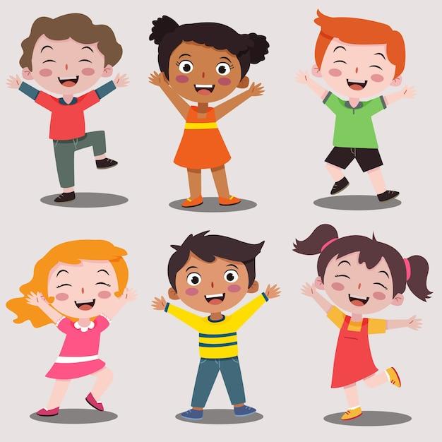 Szczęśliwy Dzień Dziecka Szczęśliwy Kolekcja Kreskówka Premium Wektorów